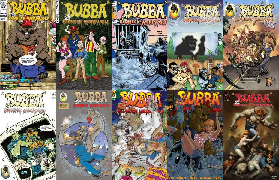 Bubba the Redneck Werewolf comics, Issues 1-8, plus special issues. Bubba the Redneck Werewolf® © Mitch Hyman