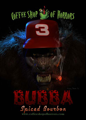 Bubba the Redneck Werewolf Spiced Bourbon Coffee by Coffee Shop of Horrors. <br/>Bubba the Redneck Werewolf® © Mitch Hyman